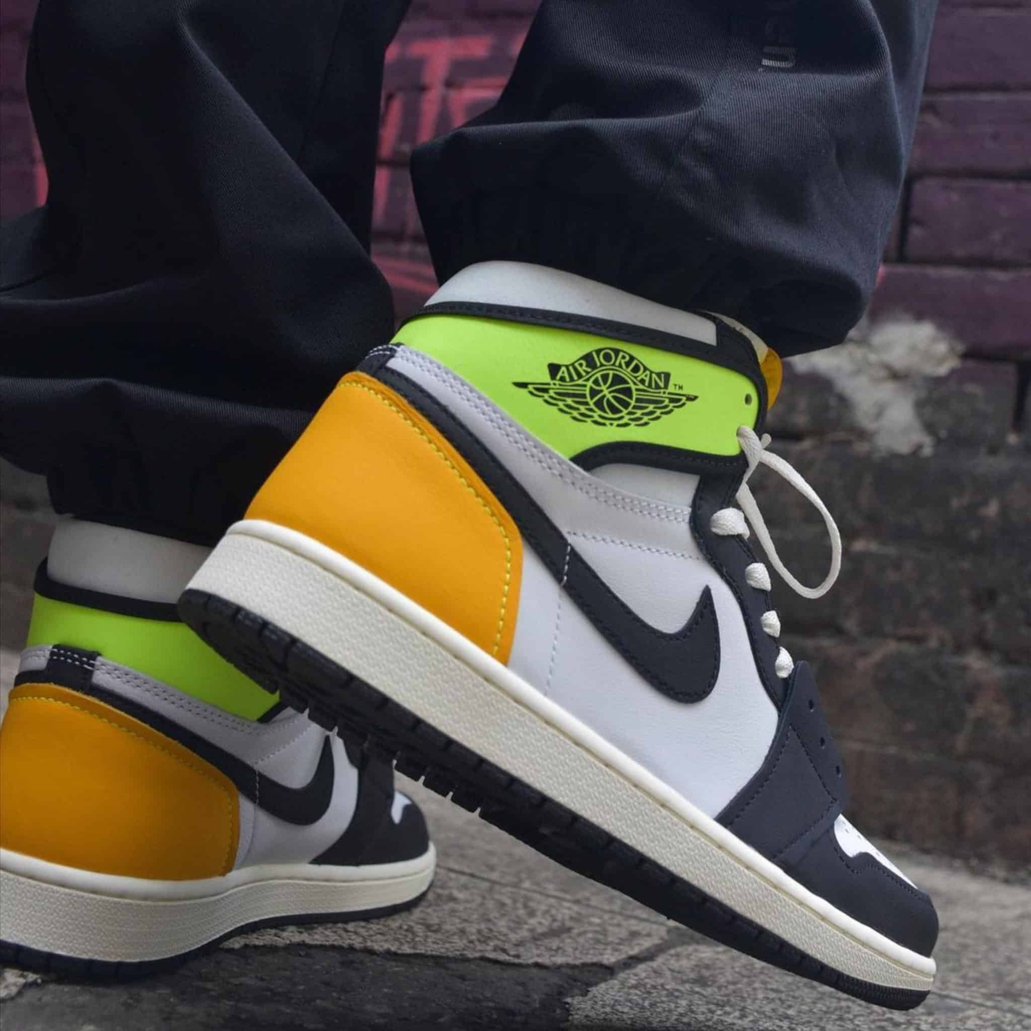 """Volt Gold"" Air Jordan 1 on feet"